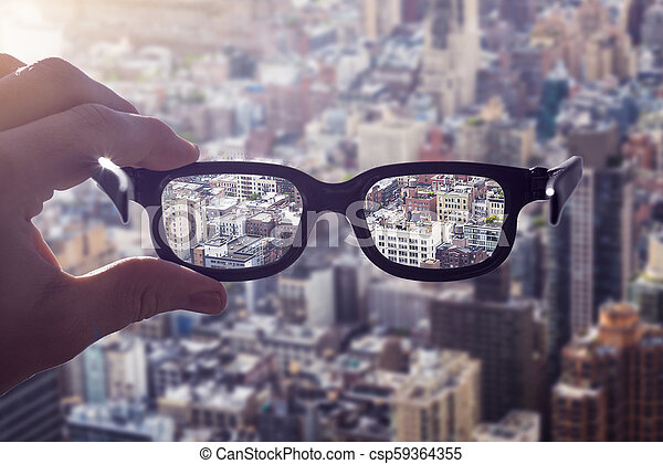 cityscape, hand, brille - csp59364355