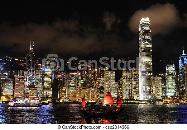 cityscape, hong, scène nuit, kong - csp2014366