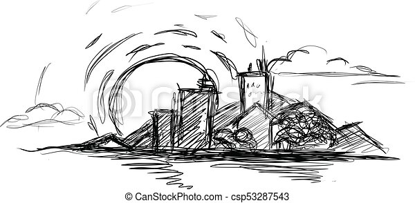 Cityscape illustration, sunset, ocean beach. doodle vector ...