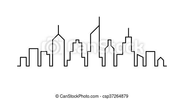 cityscape, lijn, ontwerp, schets - csp37264879