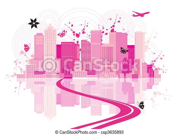cityscape, miejski, tło, sztuka - csp3635893