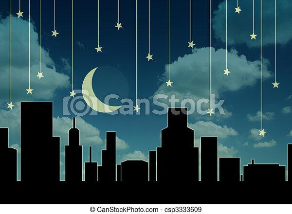 cityscape, nacht - csp3333609