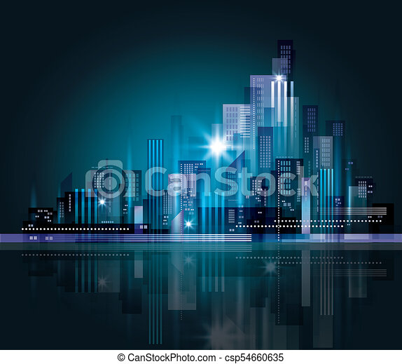 cityscape, nacht - csp54660635