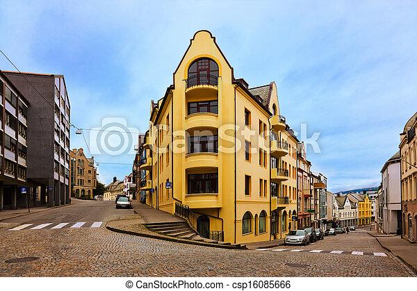 cityscape, norvège, -, alesund - csp16085666