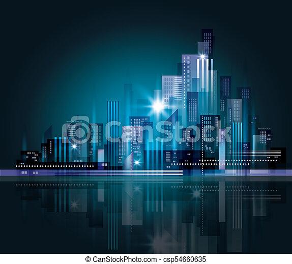 cityscape, notte - csp54660635