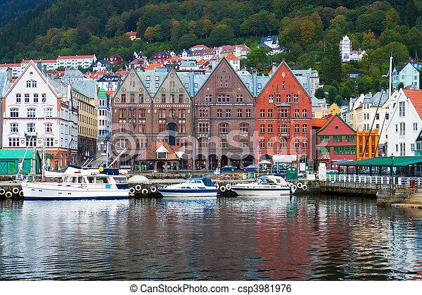 Cityscape of Bergen, Norway - csp3981976