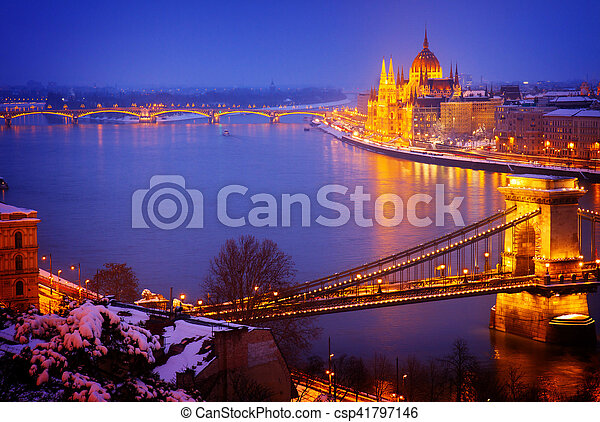 cityscape of  Budapest at night, Hungary - csp41797146