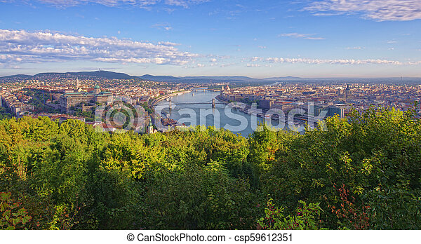 cityscape of Budapest, Hungary in a sunny day - csp59612351