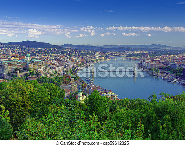 cityscape of Budapest, Hungary in a sunny day - csp59612325