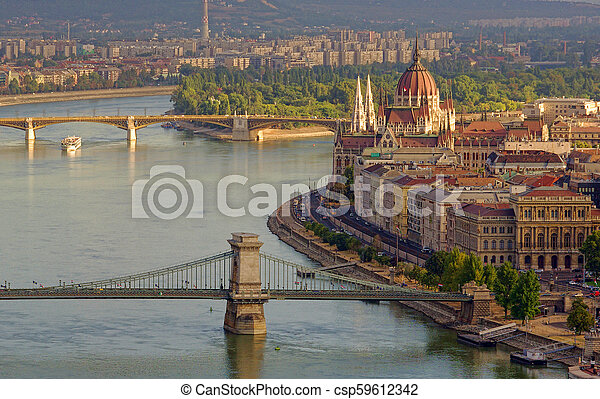 cityscape of Budapest, Hungary in a sunny day - csp59612342
