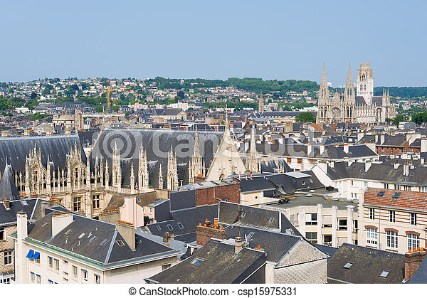 Cityscape of Rouen in a summer day - csp15975331