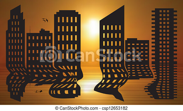 Cityscape reflected - csp12653182
