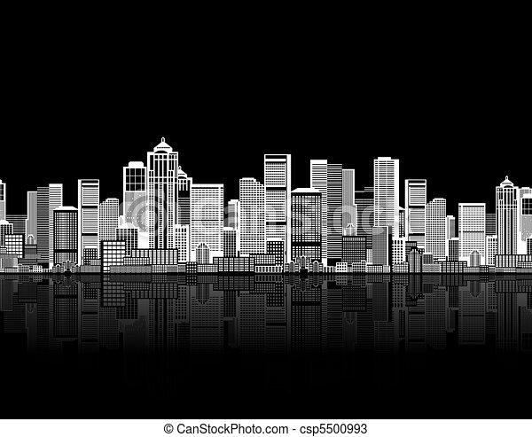 Cityscape seamless background for your design, urban art - csp5500993