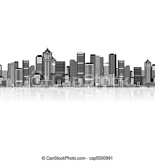 Cityscape seamless background for your design, urban art  - csp5500991