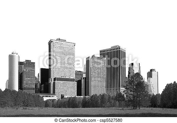 cityscape - silhouettes of skyscrapers - csp5527580