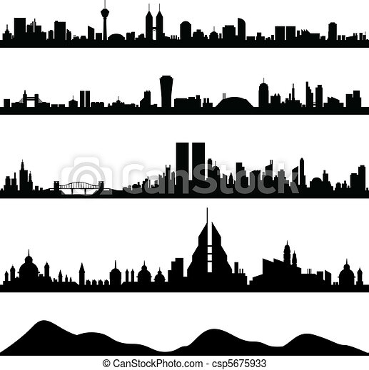 cityscape, skyline città, vettore - csp5675933