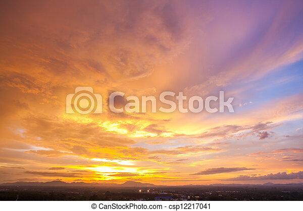 Cityscape Sunset Sky - csp12217041