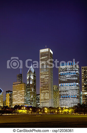 cityscape, temps nuit, chicago - csp12036361