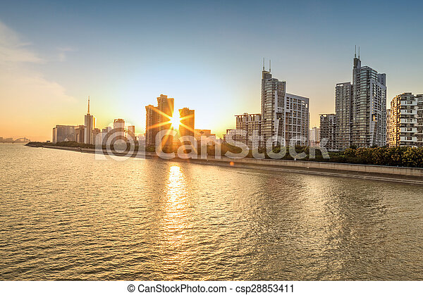 cityscape, tramonto - csp28853411