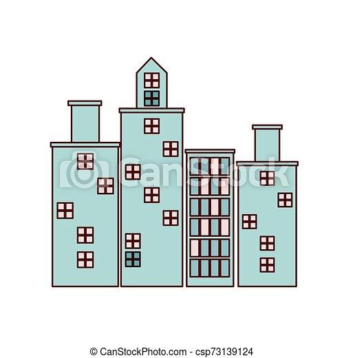 cityscape, urbain, bâtiments, scène, icône - csp73139124