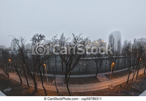 cityscape, urbain, fenêtre., vue - csp59786311