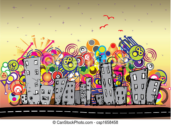 cityscape, urbain, fond, art - csp1658458