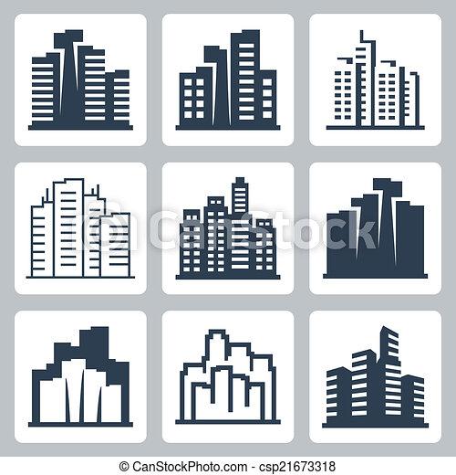 cityscape, vetorial, jogo, ícones - csp21673318