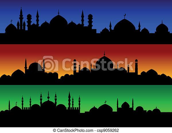 Illustration Vecteur de cityscape, villes, soir, musulman ...