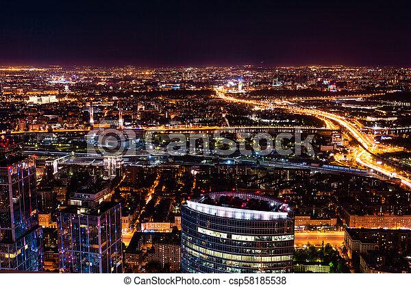 cityscape, vista, aéreo, noche - csp58185538