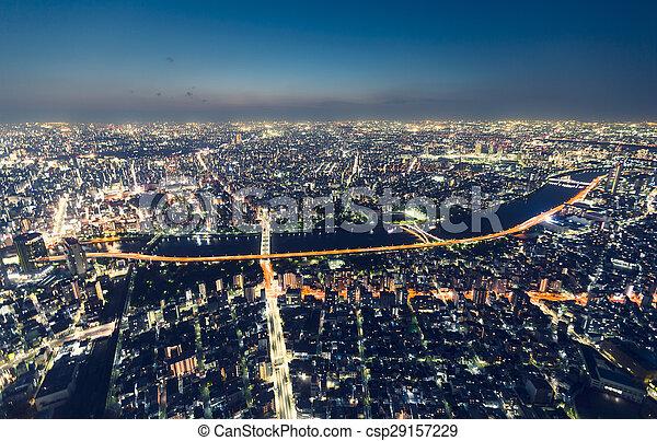 Vista aérea por la noche - csp29157229