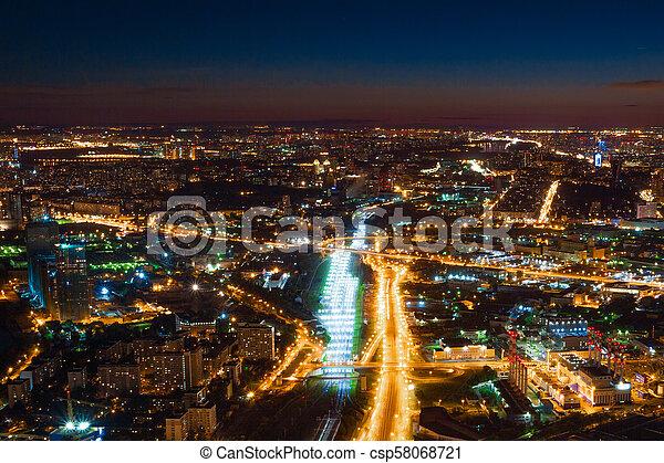 Vista aérea por la noche - csp58068721
