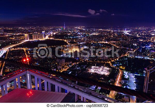 Vista aérea por la noche - csp58068723