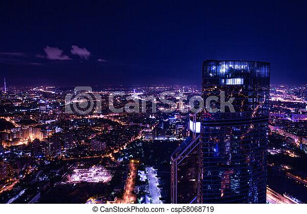 Vista aérea por la noche - csp58068719