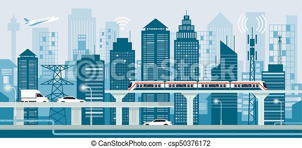 Cityscape with Infrastructure and Transportation - csp50376172