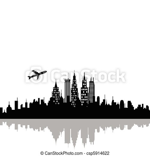 Cityscape with skyscrapers - csp5914622