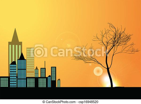 Ciudad y árbol - csp16948520