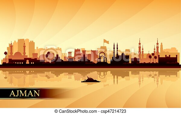 Ajman City skyline silueta fondo - csp47214723
