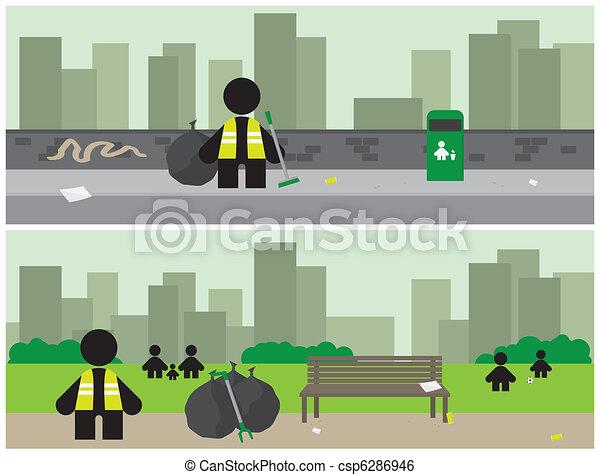 Banners de limpieza de la ciudad - csp6286946