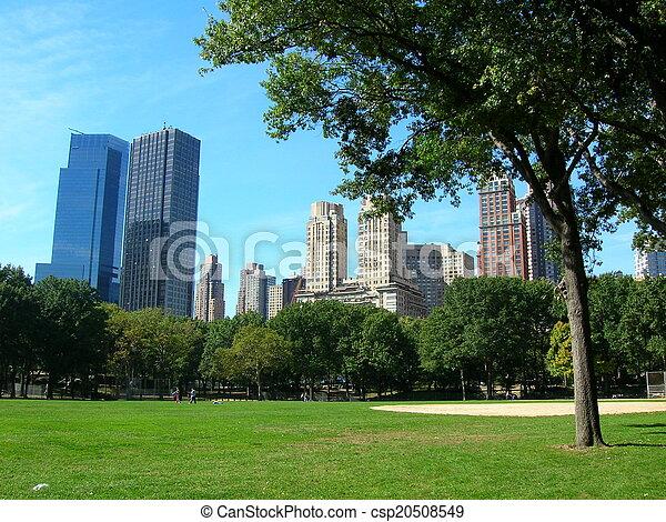 ciudad, central, soleado, parque, día, york, nuevo - csp20508549