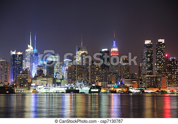 ciudad, centro de la ciudad, contorno, york, noche, nuevo, manhattan - csp7130787