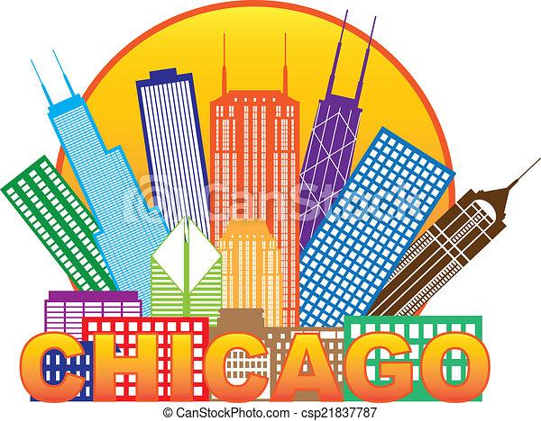 Chicago City skyline color en la ilustración del círculo - csp21837787