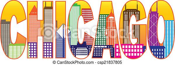 La ilustración de texto en color de Chicago - csp21837805