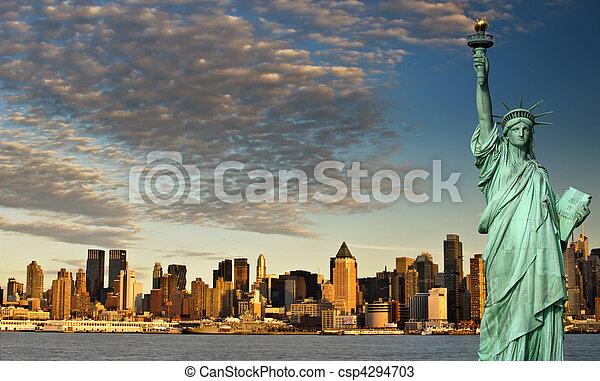 ciudad, concepto, libertad, york, estatua, nuevo, turismo - csp4294703
