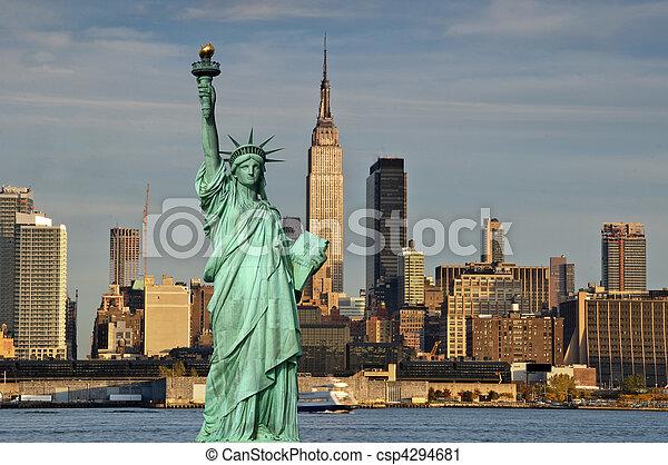 ciudad, concepto, libertad, york, estatua, nuevo, turismo - csp4294681
