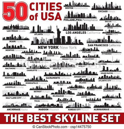 Las mejores siluetas de la ciudad vectorial establecidas - csp14475750