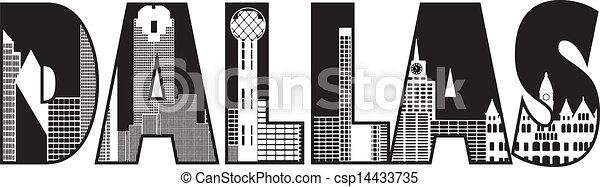 Los textos de Dallas muestran ilustraciones - csp14433735