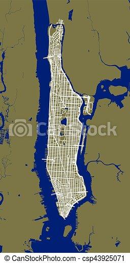 El fragmento del mapa de la ciudad de Nueva York con calles de Manhattan. - csp43925071