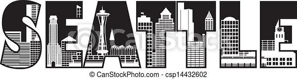 El texto de Seattle delineó la ilustración - csp14432602
