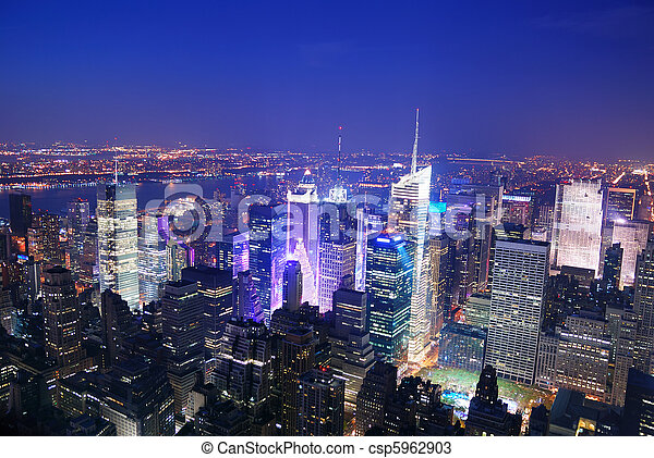 Ciudad de Nueva York Manhattan Times Square Skyline vista aérea - csp5962903