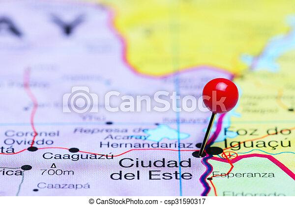 Ciudad del este pinned on a map Photo of pinned ciudad del stock
